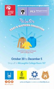 Refugees Welcome Here! Winter Clothing Drive! @ Room 107, McLaughlin College, York University Keele Campus | Toronto | Ontario | Canada