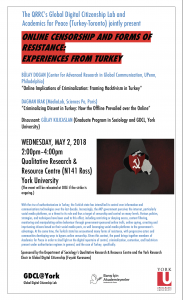 Online Censorship and Forms of Resistance: Experiences from Turkey @ Qualitative Research & Resource Centre (N141 Ross) York University (The event will be relocated at OISE if the strike is ongoing!) | Toronto | Ontario | Canada