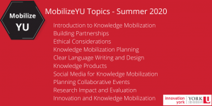 MobilizeYU Knowledge Mobilization Course @ Online