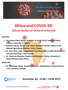 SOSC African Studies Panel Discussion: Africa and COVID-19: African Bodies at Home and Abroad @ Zoom
