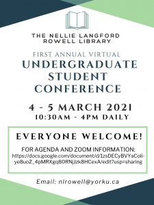 Nellie Library Undergraduate Student Conference @ Zoom
