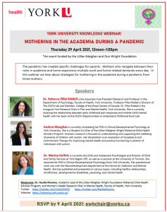 York University Knowledge Webinar: Mothering In The Academia During A Pandemic @ Webinar